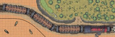 A tactical map of a train stopped on rails with a bandit camp above