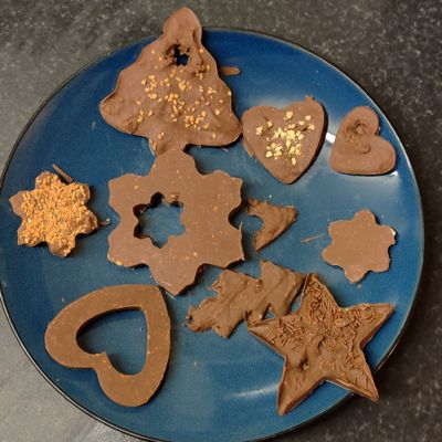 A plate of chocolate decorations
