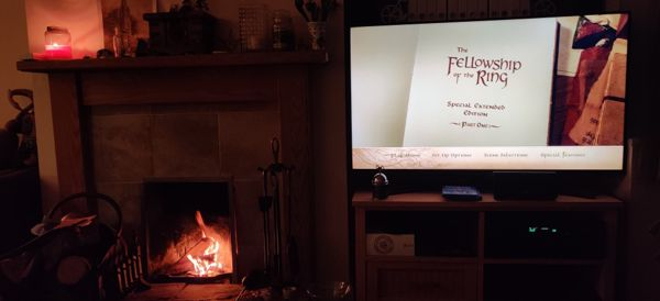 TV showing title card for Fellowship of the Ring